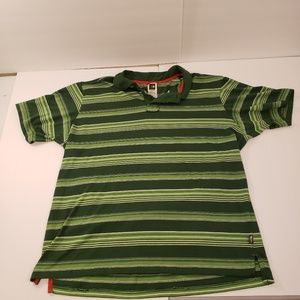 The North Face Green Striped Polo Short Sleeve L
